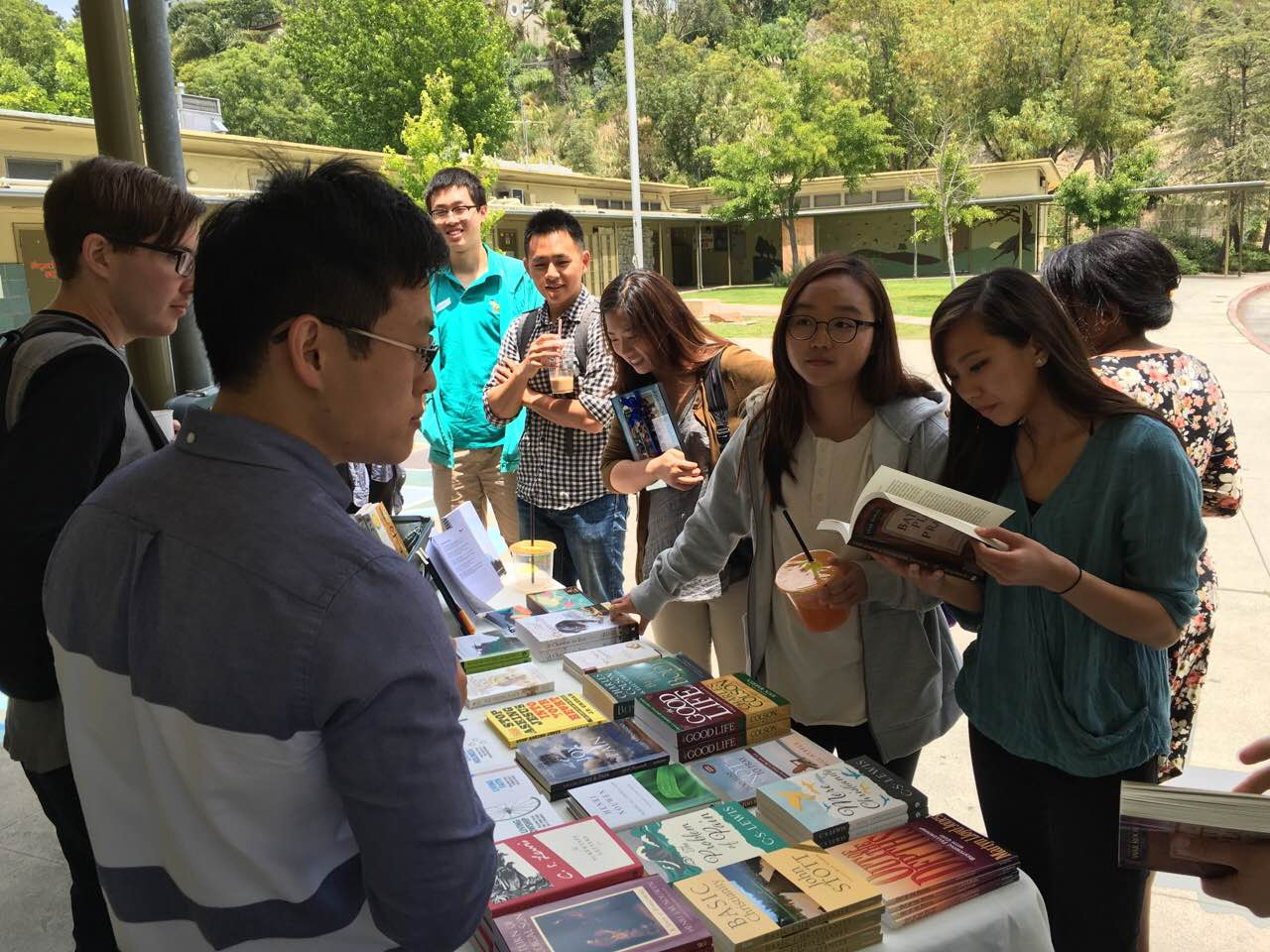 A book table at our UCLA church.