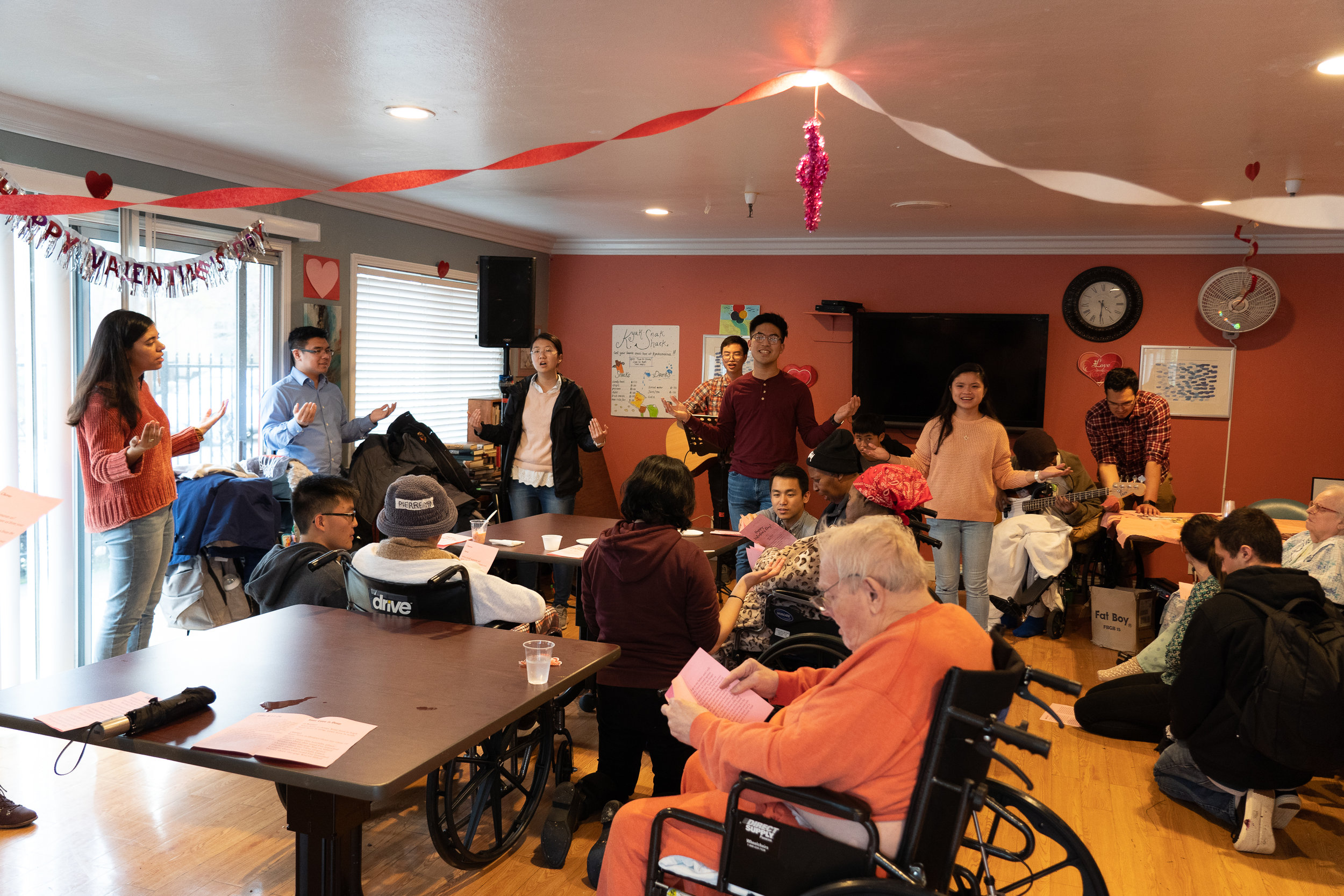"Students from our Berkeley A2F fellowship visited a convalescent home in Berkeley. They sang ""Your Love is Deep"" with the residents and even included some simple hand motions with their song."