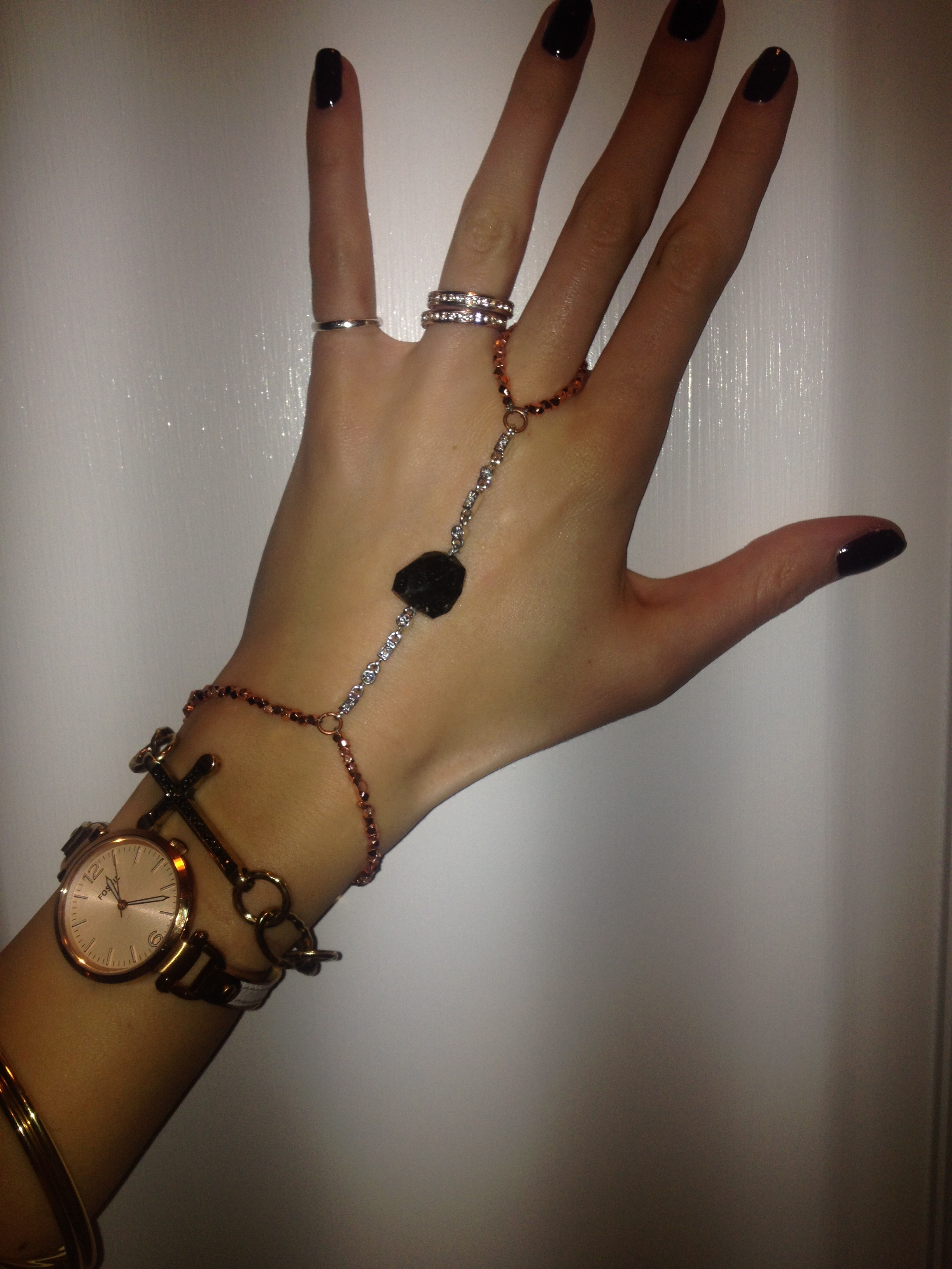 The newest design: Rose gold beading, CZ, and black tiger eye
