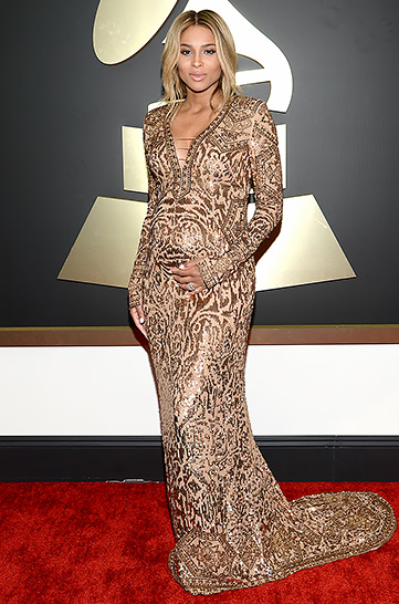 A pregnant  Ciara  looked gorgeous in a gilded Emilio Pucci gown.