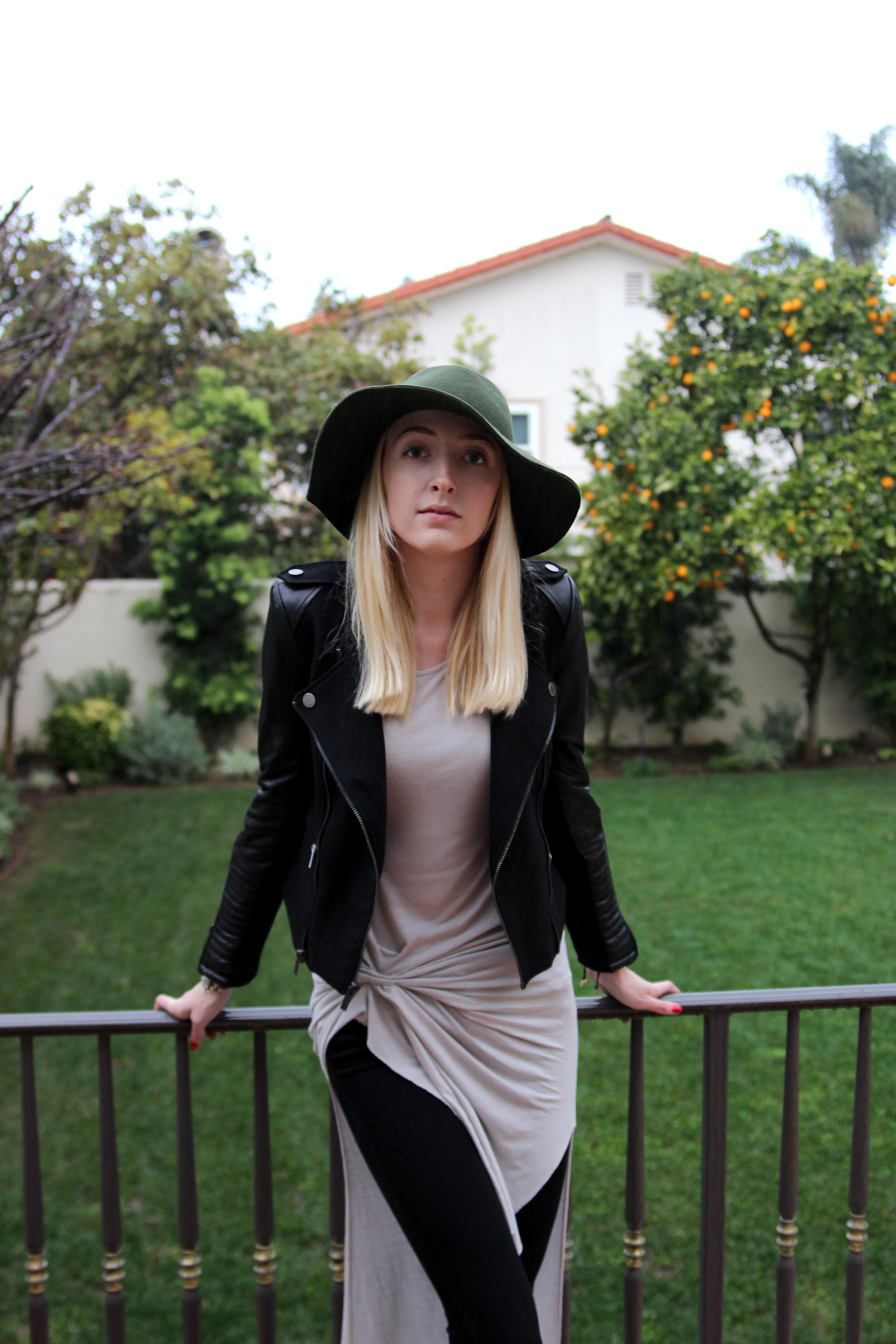 Jacket BCBG Max Azria  // Dress  AllSaints // Jeans  J. Brand  // Hat  Anthropologie