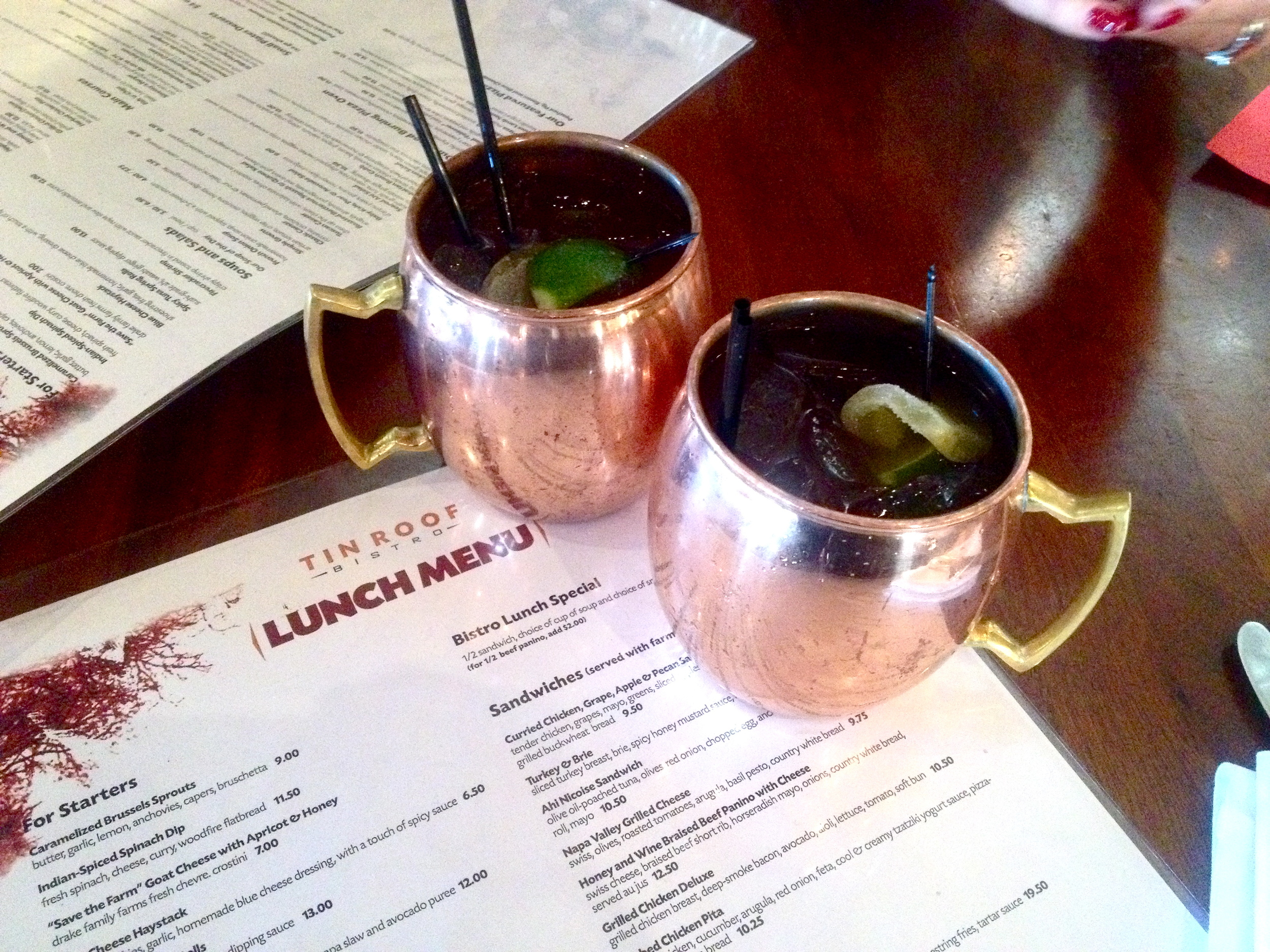 Lunch and Moscow Mules with my mom at  Tinroof