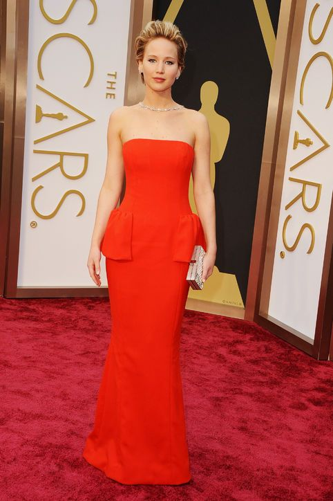 Screw her red carpet fumble! J.Law is fierce in fiery red Dior.