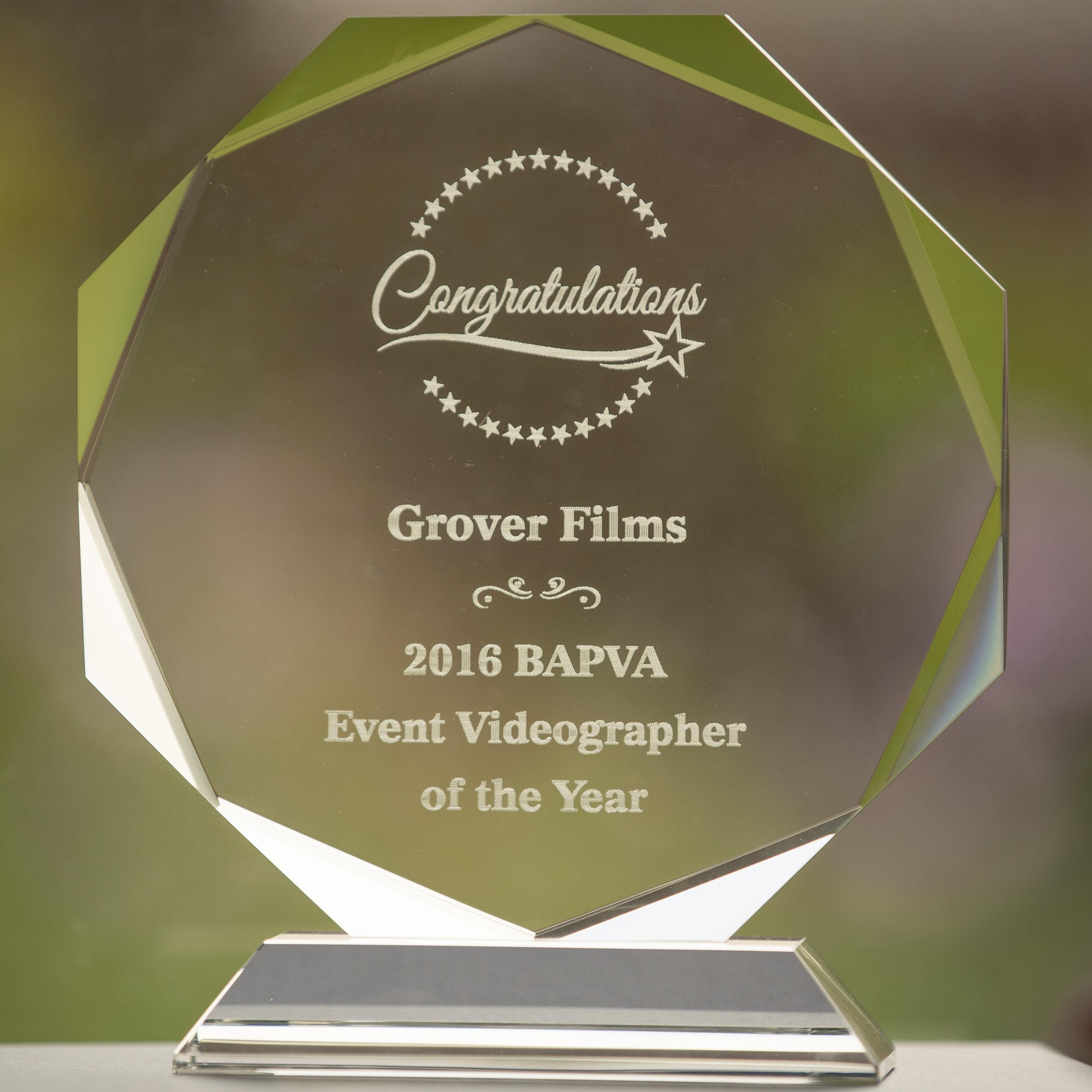 Wedding Videographer of the Year Award