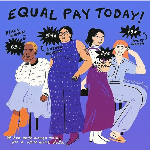 Today is #EqualPayDay. Equality isn't equality until it's equal for everyone. We will NOT stop until we have equal pay! #genderpaygap #equalworkequalpay #timesup Art by @ashlukadraws