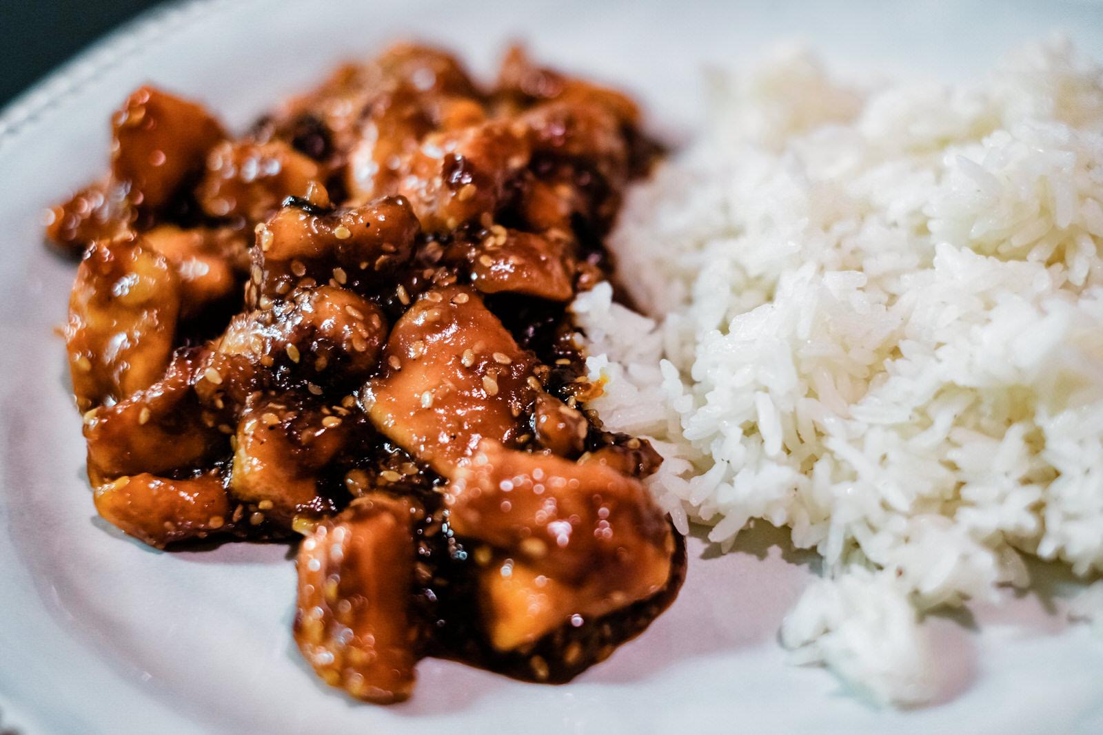 Homemade Sesame Chicken with Jasmine Rice