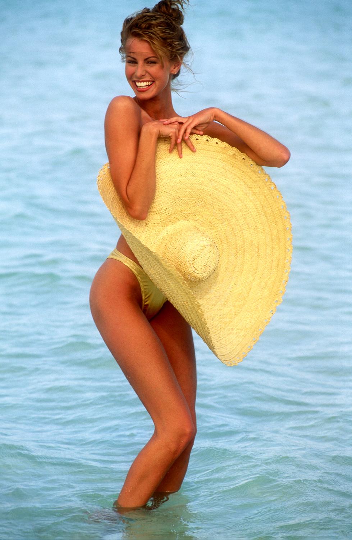 Niki on a sandbar in the middle of the ocean