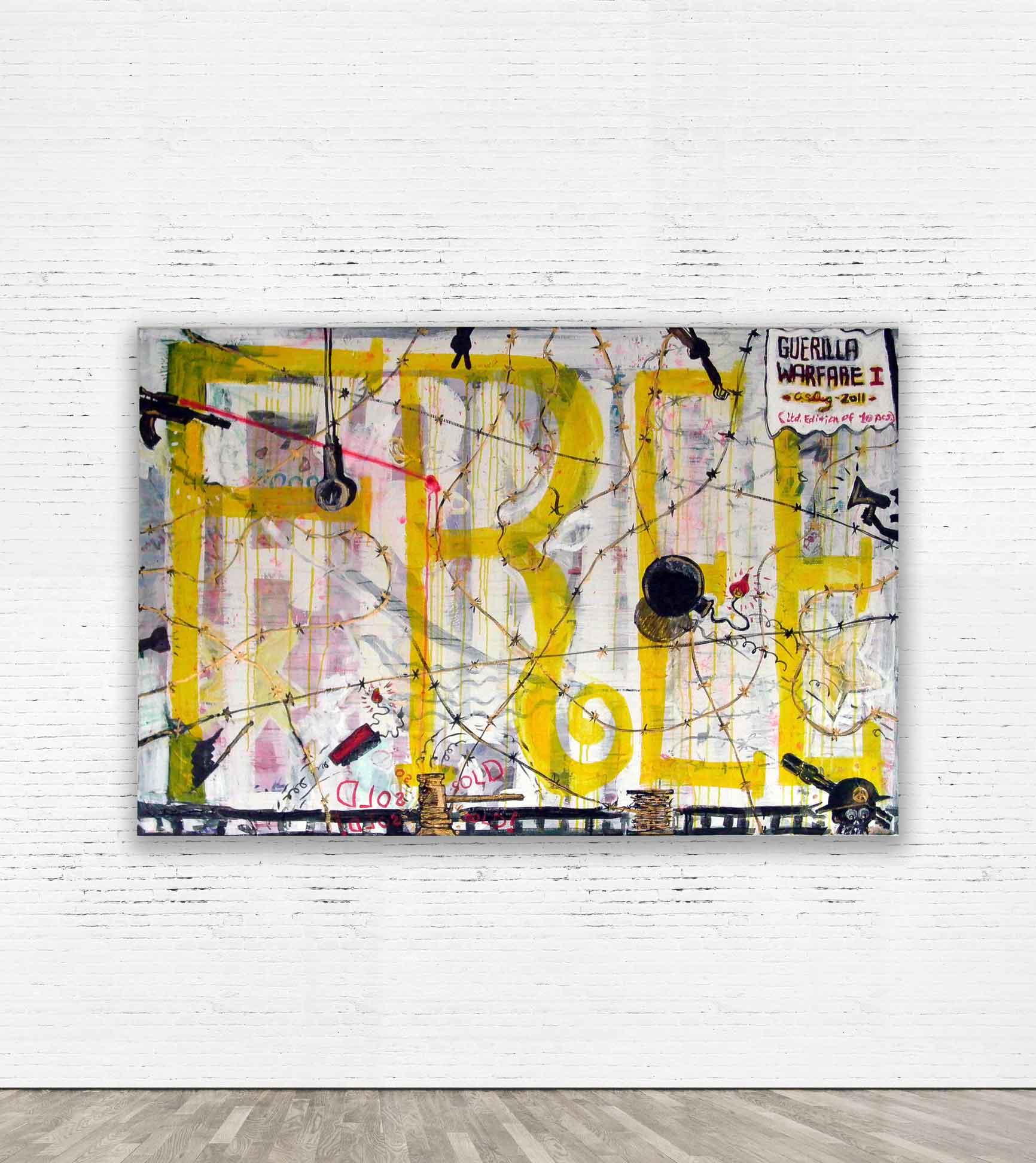 """GUERILLA WARFARE""  2011 Acrylic on canvas 150 x 100 cm   SOLD"