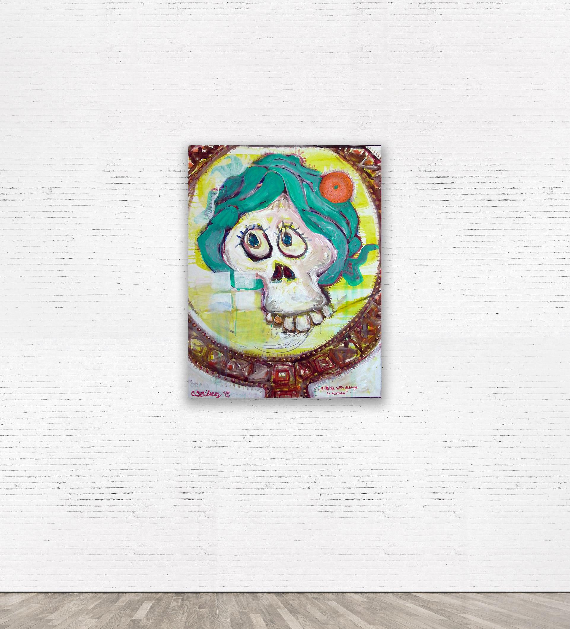 """STILL LIFE WITH ORANGE IN TURBAN""  60 x 80 cm Acrylic on canvas 2012"