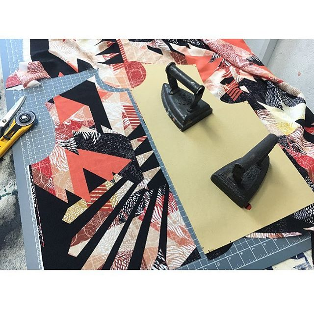 First cut for the bomber jacket front panel of one of our new prints. Nerve wracking to say the least. It's like cutting up a painting. He only way you really know it's going to work is when you lift the pattern piece- and mostly breath a sign of relief because- yay- it's gonna look awesome 🤪😎👏🏼 #handcut #handmadefashion