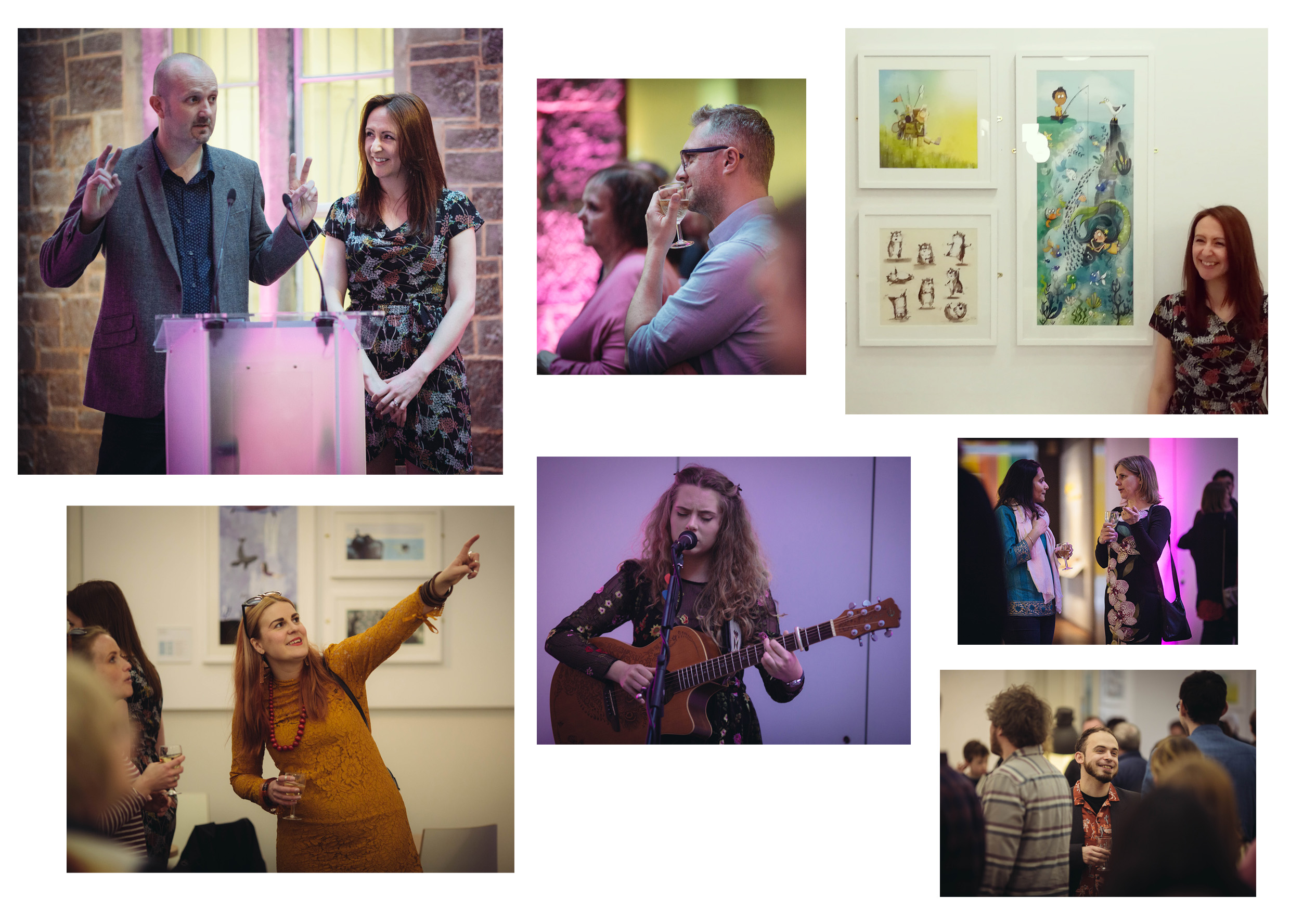 Speech time, guests enjoying the show, me grinning like a loon in front of my artwork, and music from local singer songwriter Sadie Horler. Photographs by Simon Hammet.