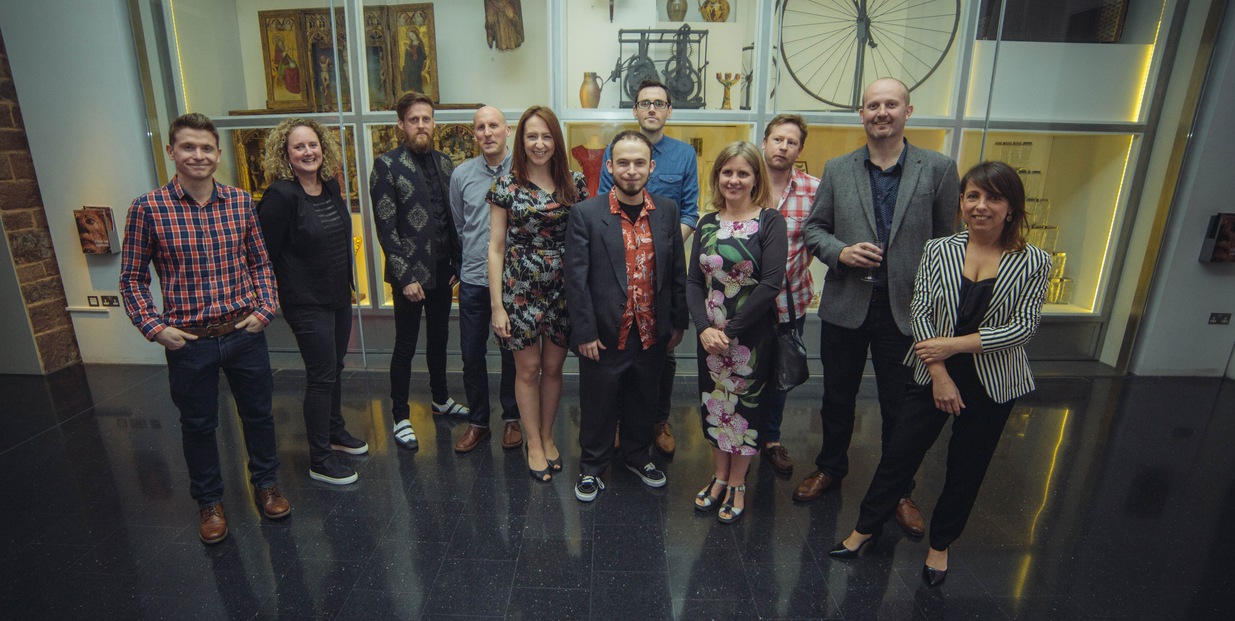 Group shot of Exeter Illustrator members at the Private View. Photo by Simon Hammett.