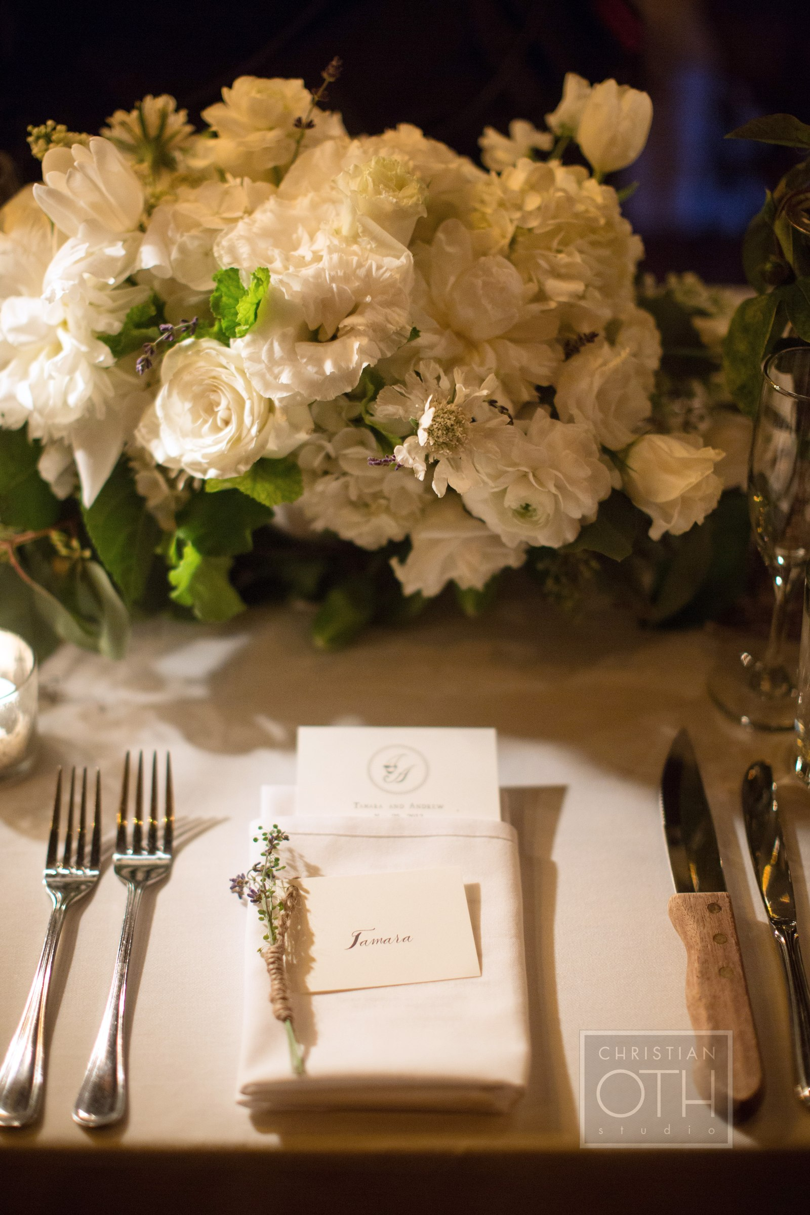 Wedding floral centerpiece by Belle Fluer at The Bowery Hotel. Photo by Christian Oth Studios. Day of Planner Just About Married