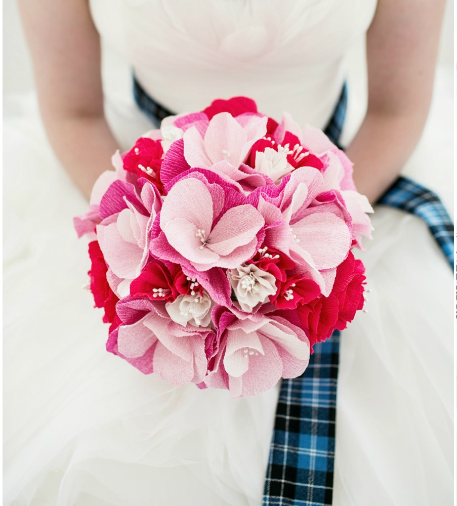 Bridal Paper flower bouquet created by the brides mother. Photo by Brookelyn