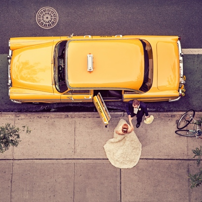 Dina and Evan step in their Vintage Cab! Photo by Laffler Photography
