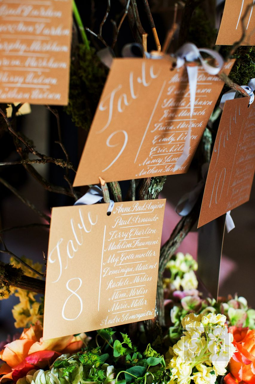 Tree escort card display! Photo by Christian Oth Studios