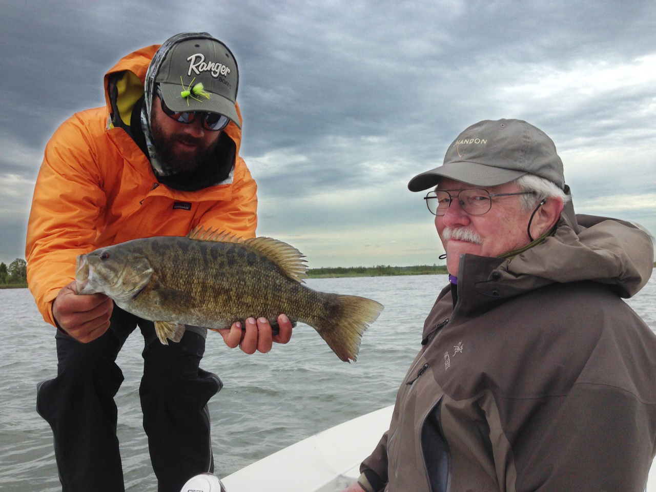Walter and his crew braved the nasty conditions yesterday and put a few nice fish in the boat on both flies and plastics.