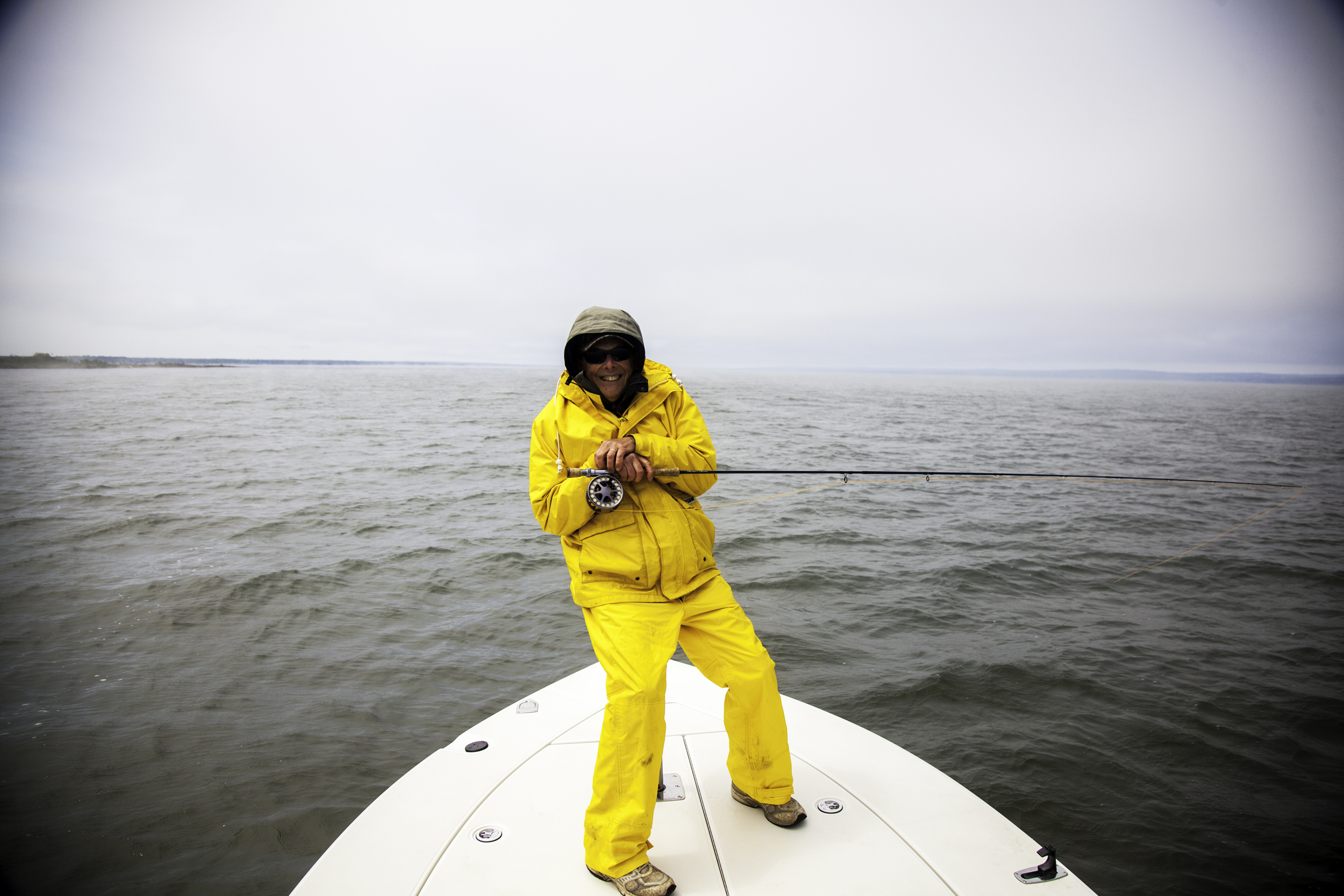 The weather on the big lake is always crazy. We were wearing shorts and t-shirts one day and Arctic survival suits the next day. You gotta love it!