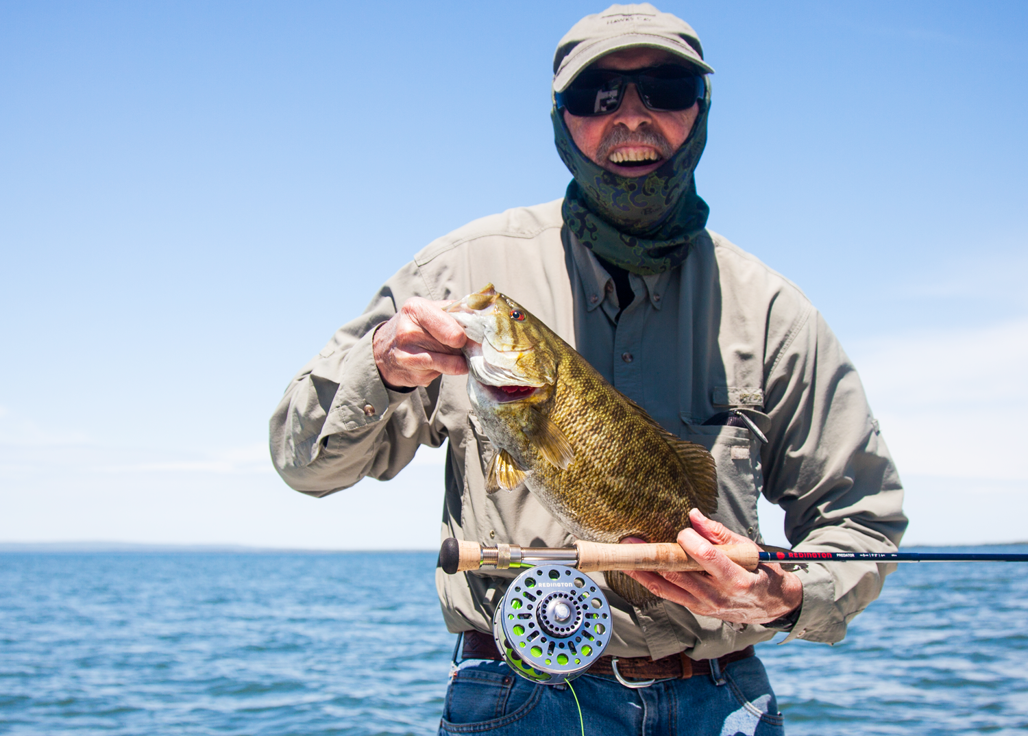 Jim from Duluth hit a good stretch of fish the other day on the fly. We had a little topwater action in the morning and as the sun got high we sight fished out in the deeper water. RIO's Outbound Short line with intermediate head got the job done.