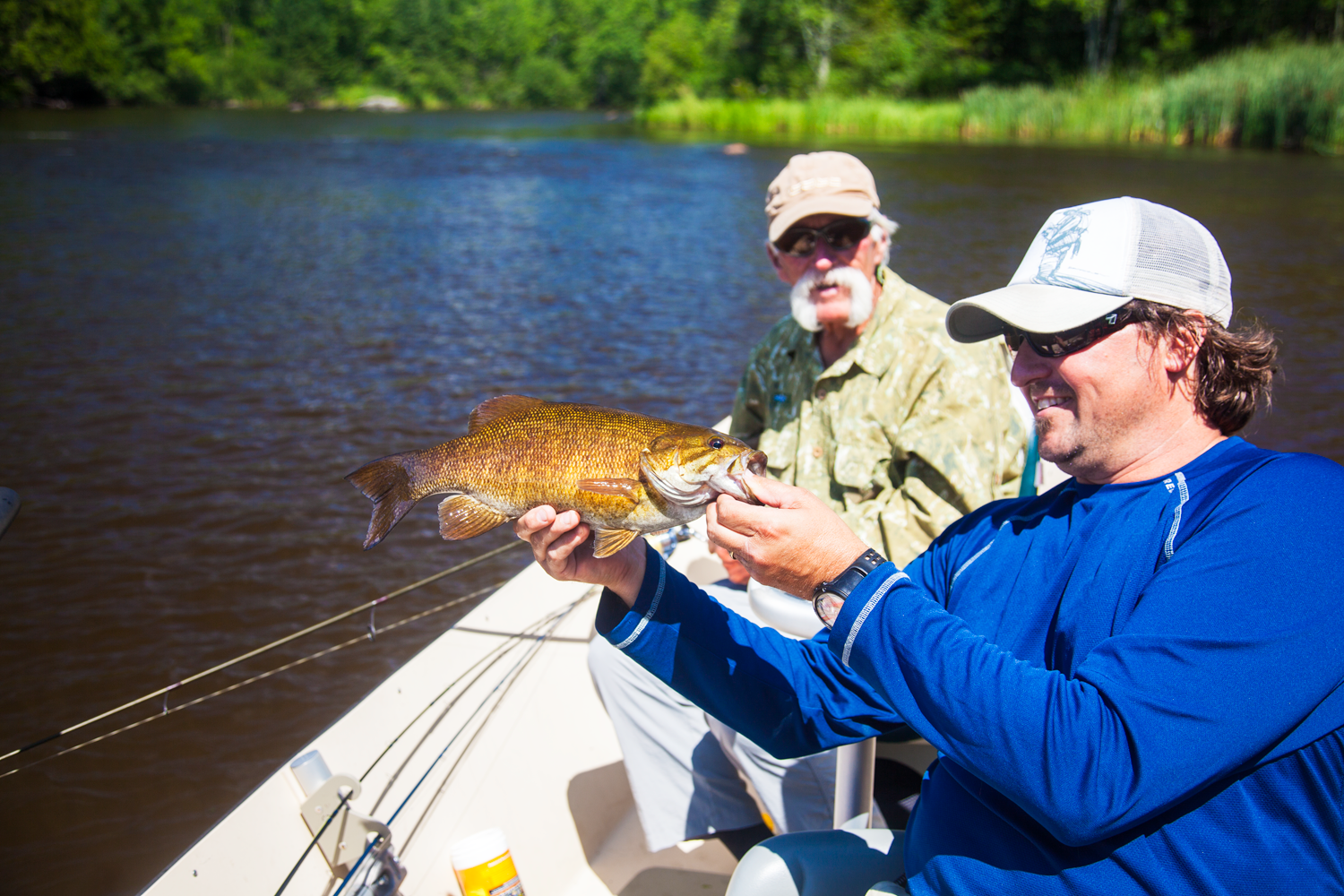 When the winds blows on the big water, we take the driftboat and go inland.  River smallmouth are a blast and our area smallmouth rivers provide a great alternative to fishing the Bay.