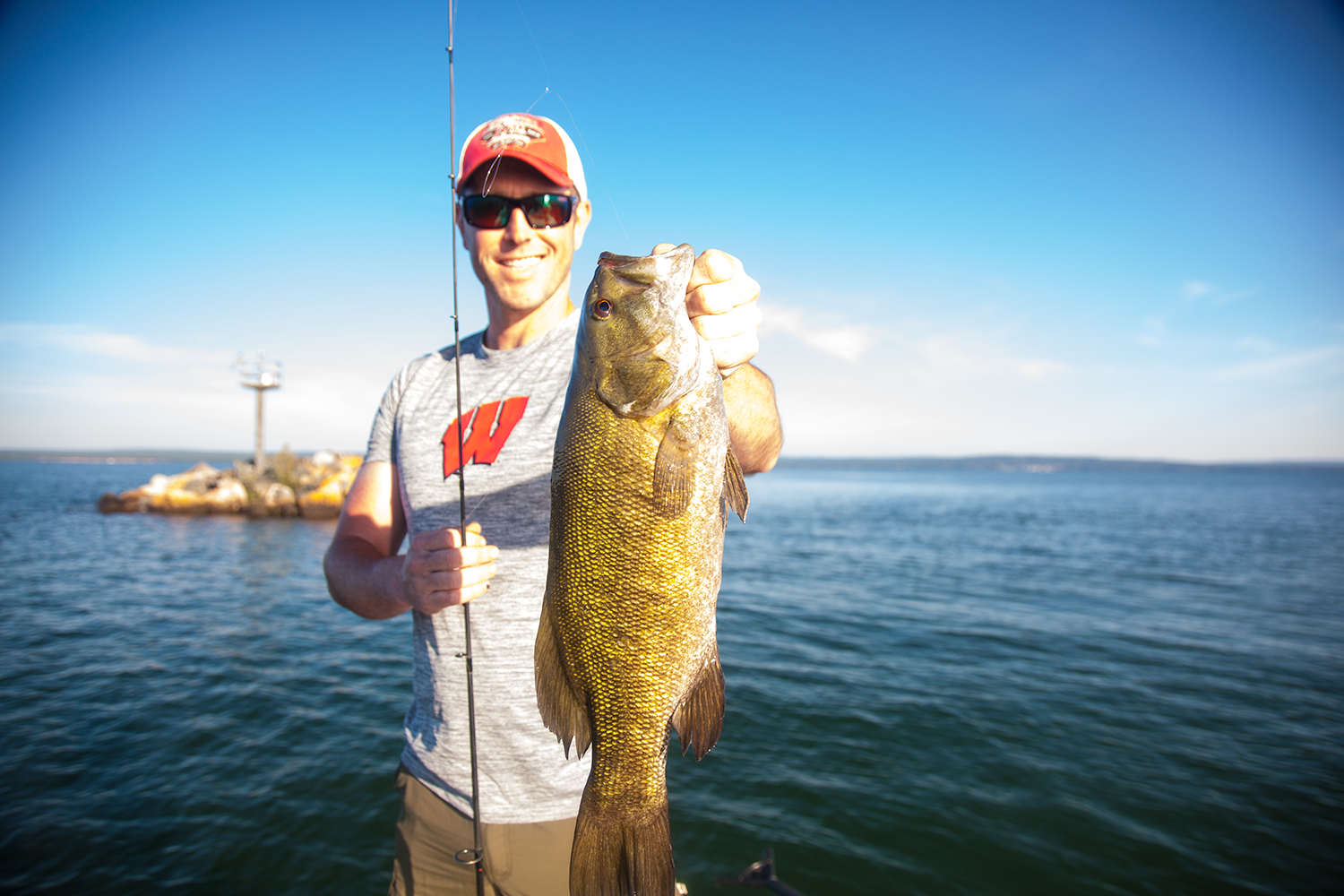 Kevin from Dallas Texas with his first Lake Superior Smallmouth.