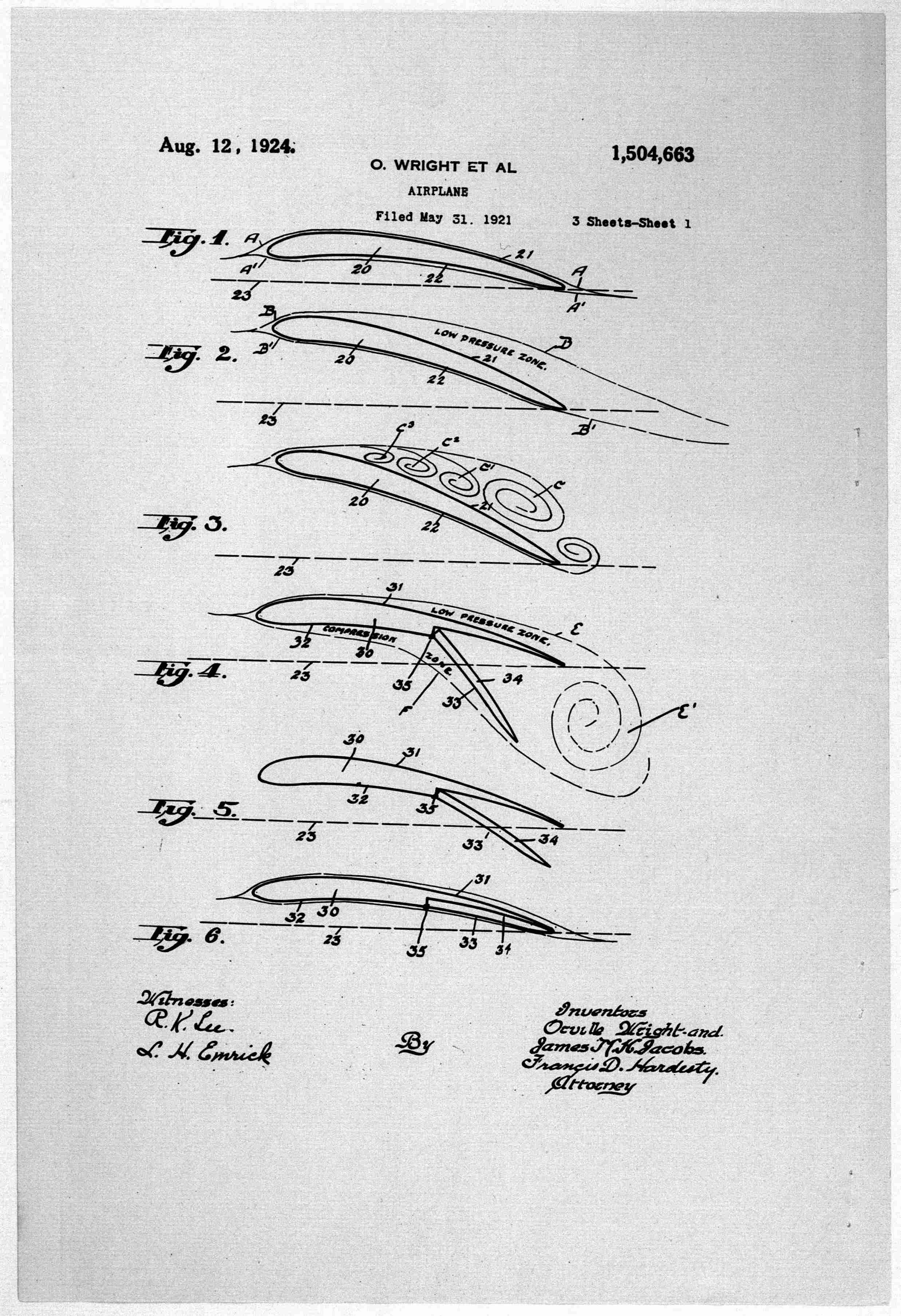 Patents--By Wright Brothers--USA--filed 31 May 1921, patented 12 August 1924.jpg