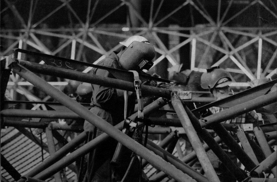 Welding Bucky Fuller's Dome, 1967. Photo by Charles Eames.