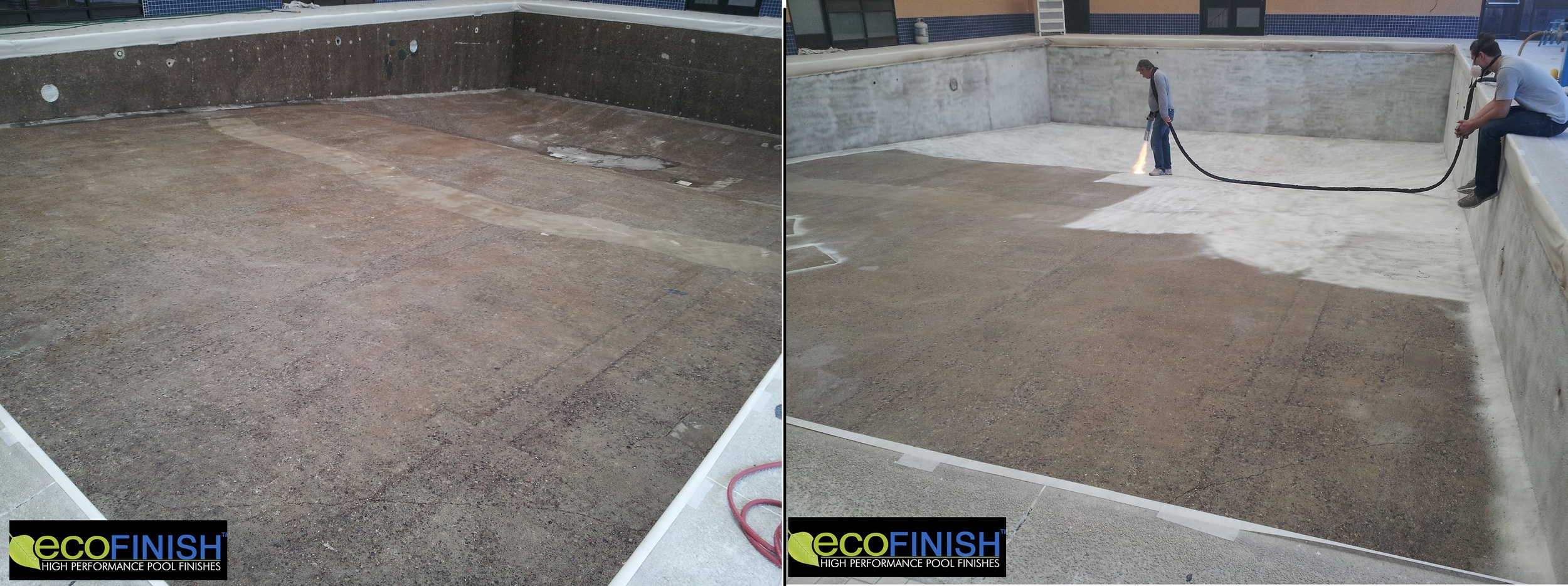 Photo to left shows epoxy application completed.  Photo to right shows ecoFinish flock coat process with 2 person crew