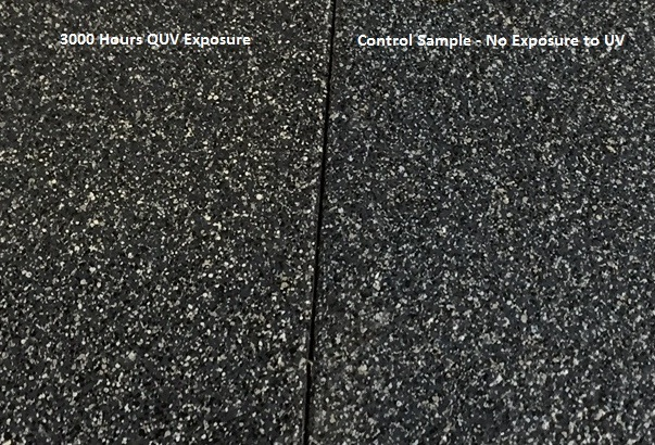 sample on left = 3000 hrs quv testingthis side kept in the dark for a comparative standard