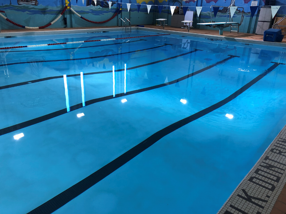 burman university commercial pool wearing commercial white aquabright by ecofinish