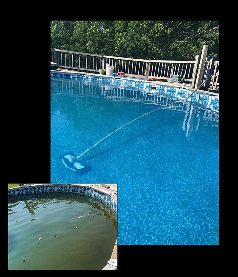 trial test on Vinyl liner pool.  check out The pool water before the water was homogenized using Cleary's surface saver. clean water after processed. we highly recommend Cleary's surface Saver for thermoplastic finishes.