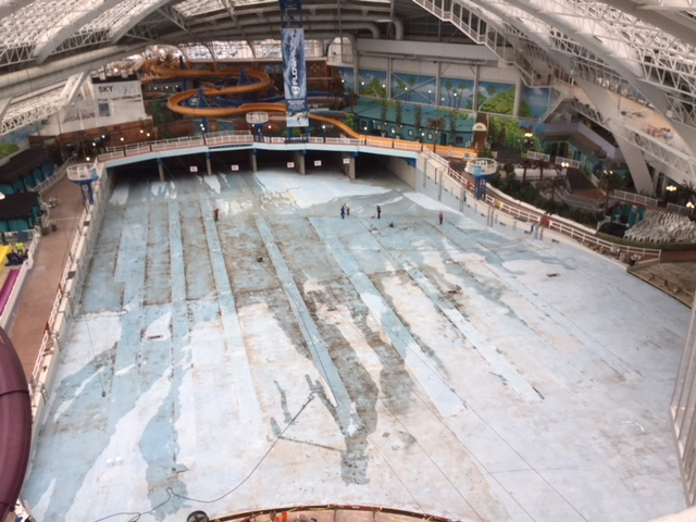 After shot blasting and acid washing, cleaning and vacuuming…the substrate is ready for the epoxy installation