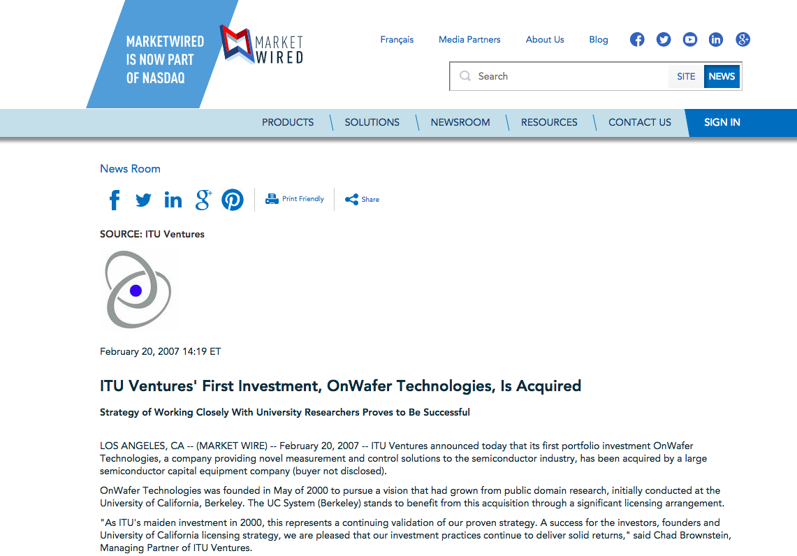 TECHNOLOGY / INVESTMENT