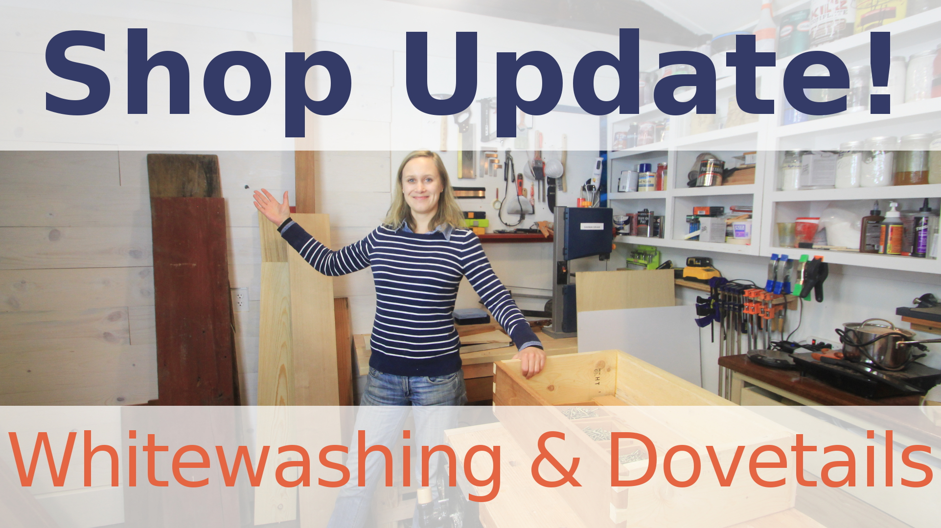 In this shop update I build a new wall and add whitewashing to it. Then I continue finishing my new workbench by adding dovetailed drawers and some storage space underneath.