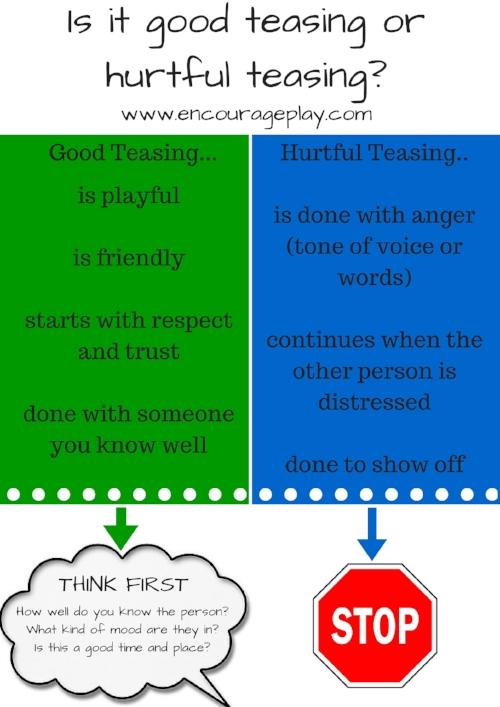 Good Teasing or Hurtful Teasing Graphic Encourage Play