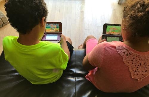 My kids playing baseball on Mario Sports Superstars!