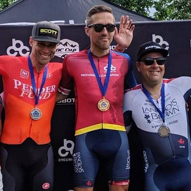 What a race today! Jeff Werner won today's Provincial Championship Road race in a 2-up sprint against Pender Racing's Matt Usborne. Vince Marcotte won the field sprint for the bronze. . . 📸@vandeezee - #langloisbrown @thaaschocolates @climbbase5gym @precisionhydration @jakroocanada @jonathandwood  #bornNA @pacificcoastalair @pocsports #eastoncycling