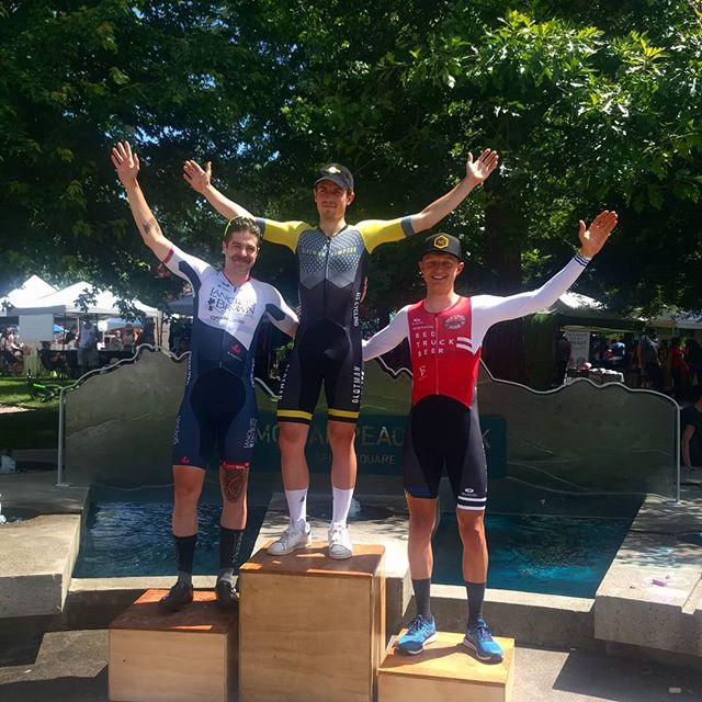 Pretty swell podium at Race the Ridge Town Centre Crit today. @shredordead held off the pack with @rideupgrades to take second. - #langloisbrown @thaaschocolates @climbbase5gym @precisionhydration @jakroocanada @jonathandwood  #bornNA @pacificcoastalair @pocsports #eastoncycling