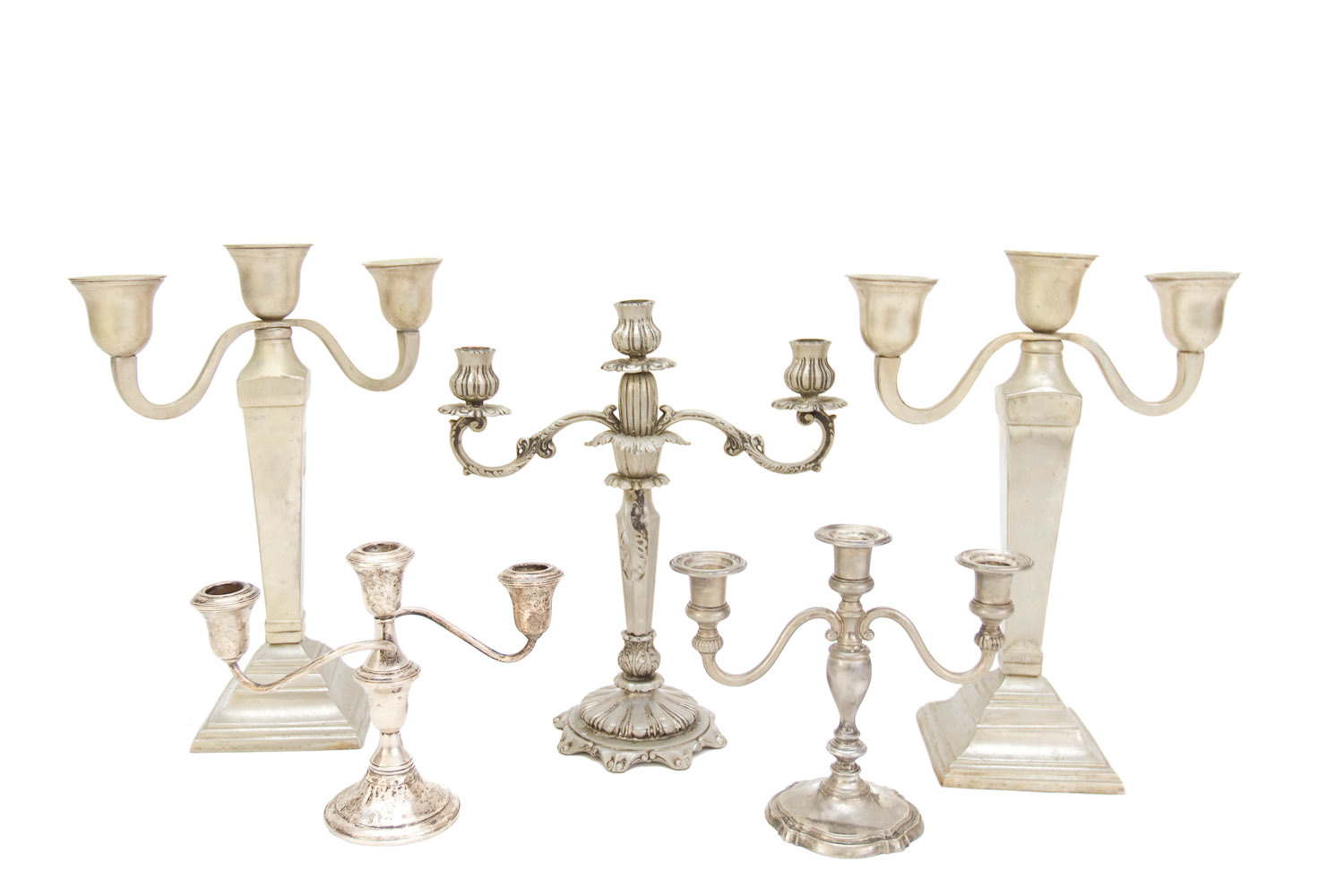 (TA-079.2) SILVER + PEWTER CANDELABRA COLLECTION