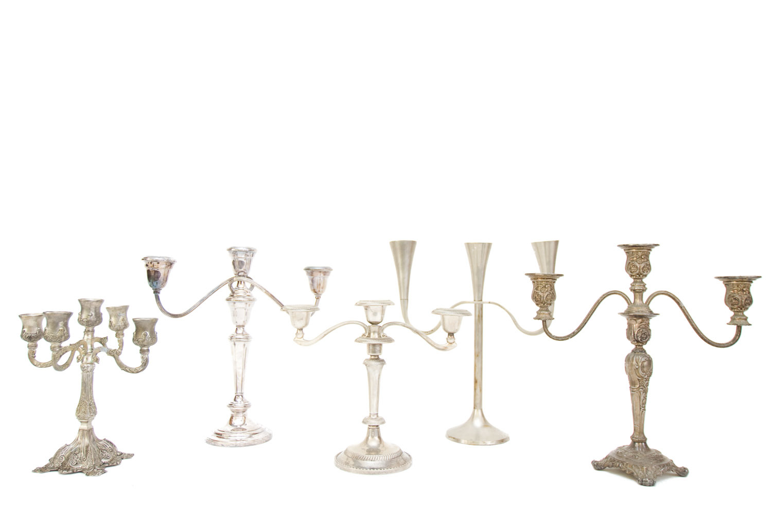 (TA-079.1) SILVER + PEWTER CANDELABRA COLLECTION
