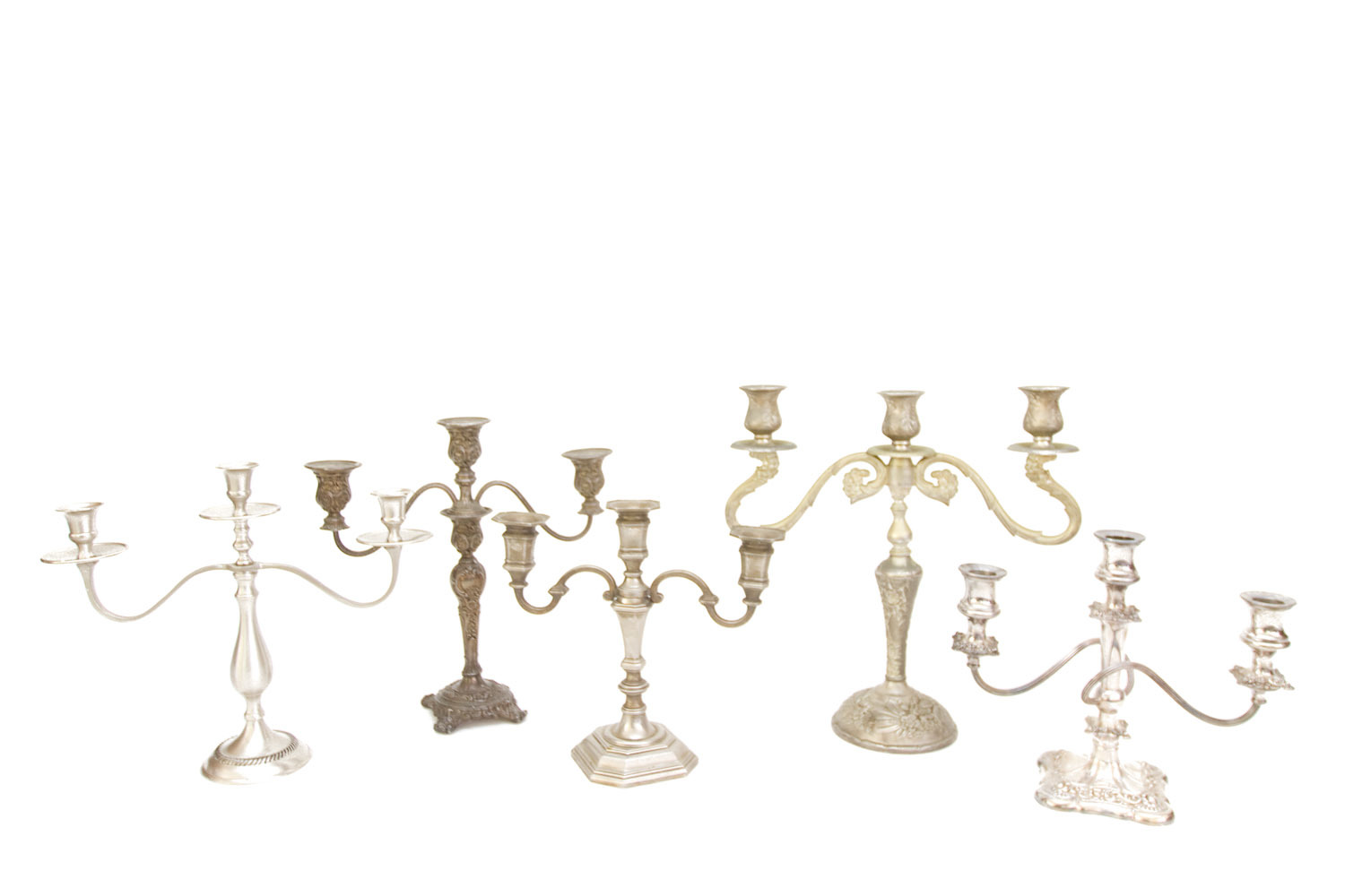 (TA-079.4) SILVER + PEWTER CANDELABRA COLLECTION