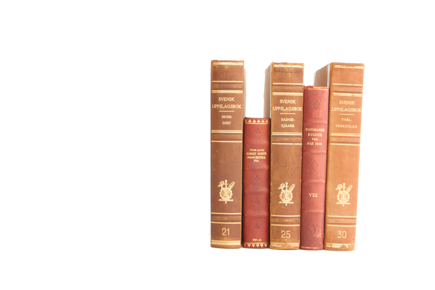 (B-029) BROWN + RED LEATHER SCANDINVIAN BOOKS