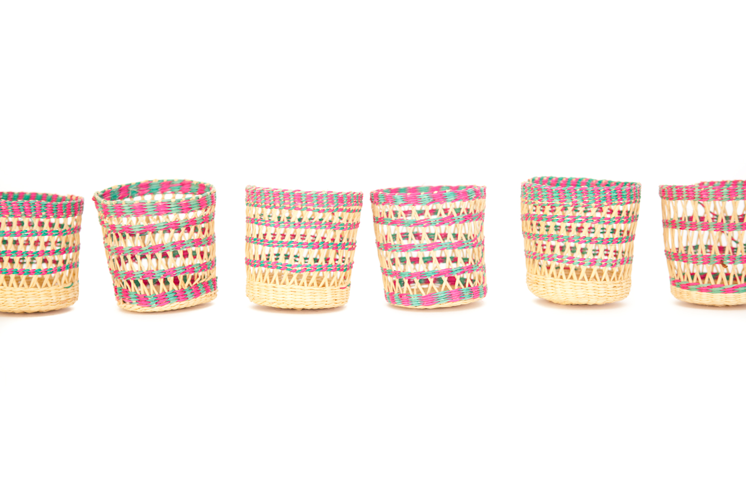 (PS-154) WOVEN PINK AND GREEN GLASS SLEEVES