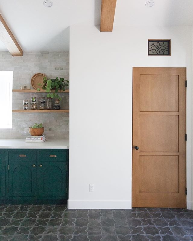 Designing this kitchen consisted of many different green paint samples, stain samples and lots of conversations about floor tile. The end goal was to create a modern Spanish space by incorporating a blend of varying textures and shapes, weathered and storied materials, clean lines and angles, and LOTS of light. So much thought and time goes into the design of any space and it's often missed when communicating through images on Instagram. It's sometimes easy to forget quality and beauty take time and intentionality (you can probably apply that to many aspects of life, too.)