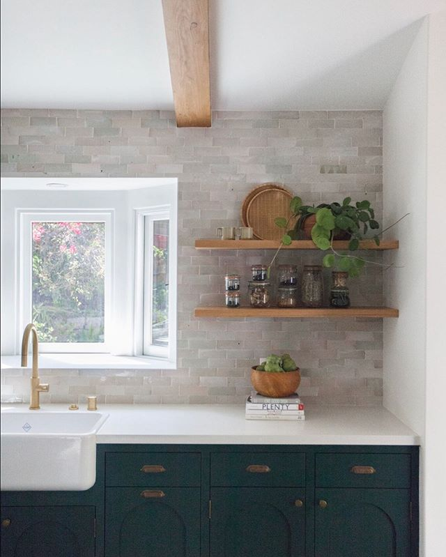 Hello Monday! Since this seems to be a favorite for everyone, we thought we'd share the other side of our favorite Modern-Spanish style kitchen. Those custom-made and custom-colored green cabinets with @cletile backsplash always grab our attention.