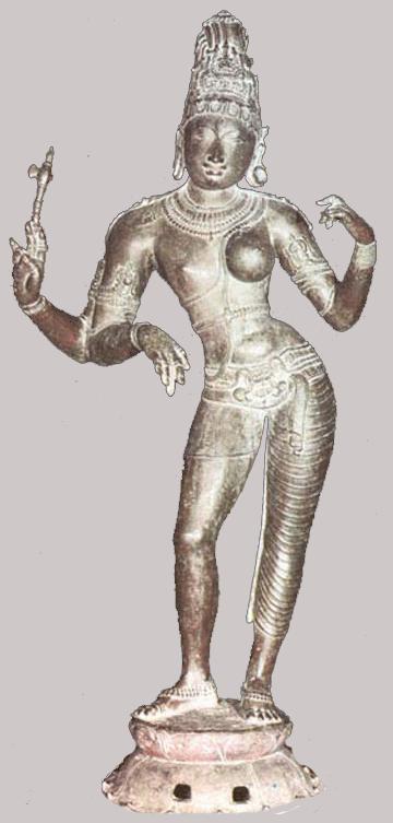 Ardhanarishvara: Shiva and Parvati in one form, half-man, half-woman, cast in bronze