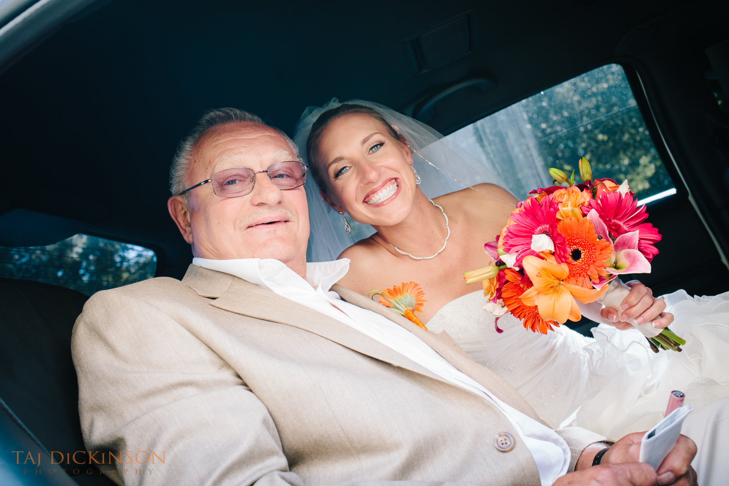 wedding father and bride limo
