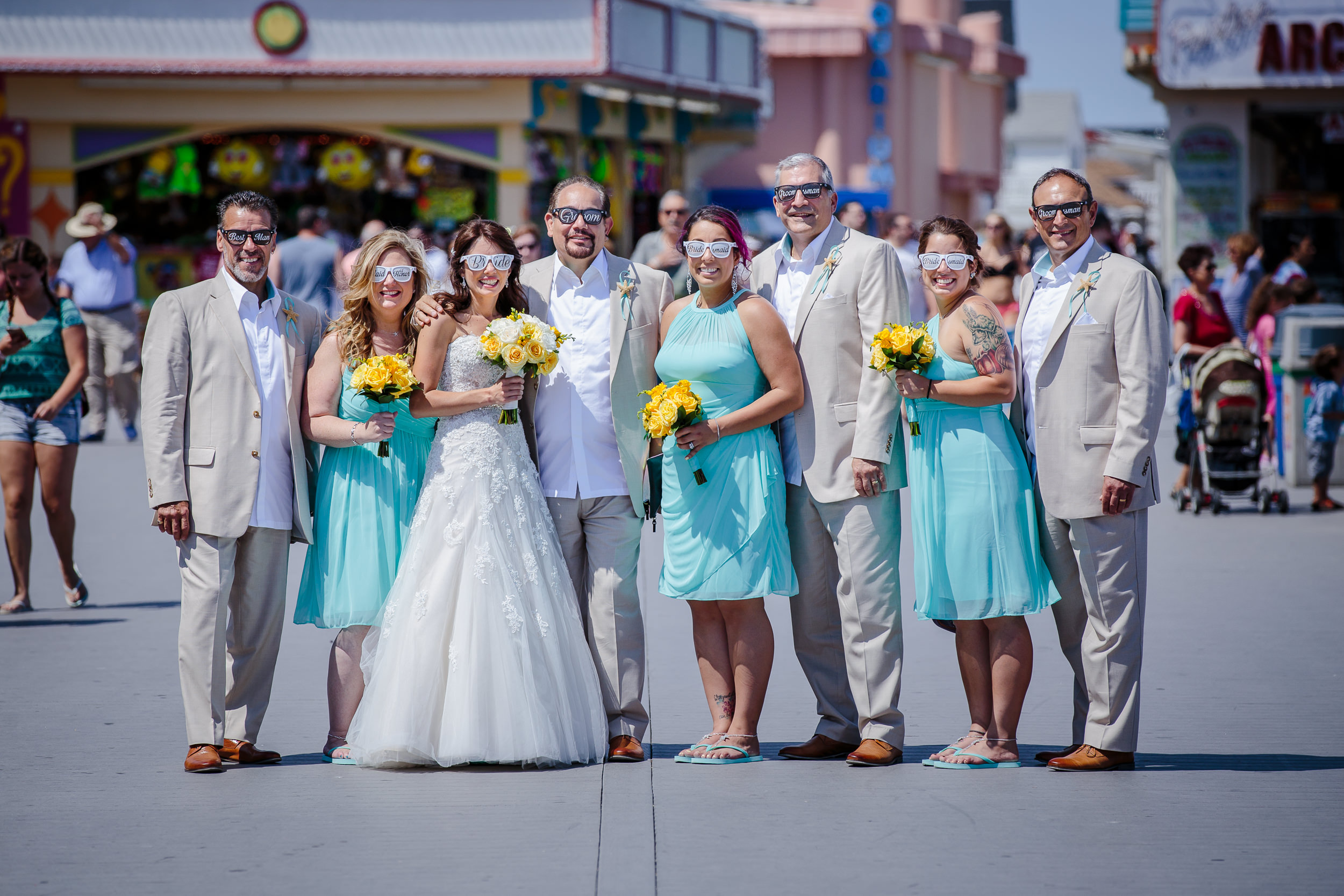 wedding party portrait group shot point pleasant beach boardwalk nj