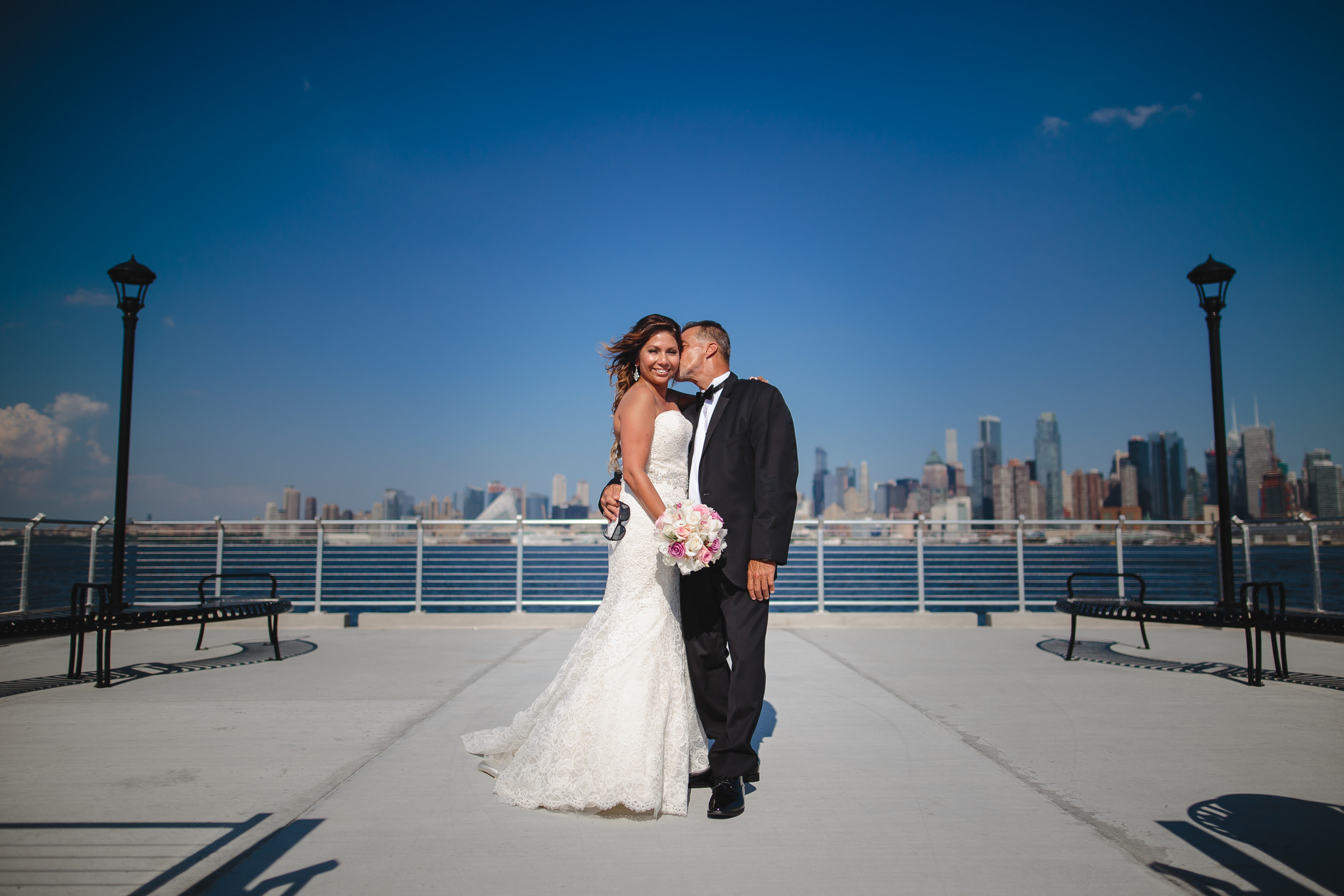wedding portrait bride groom wehawken waterfront pier nj