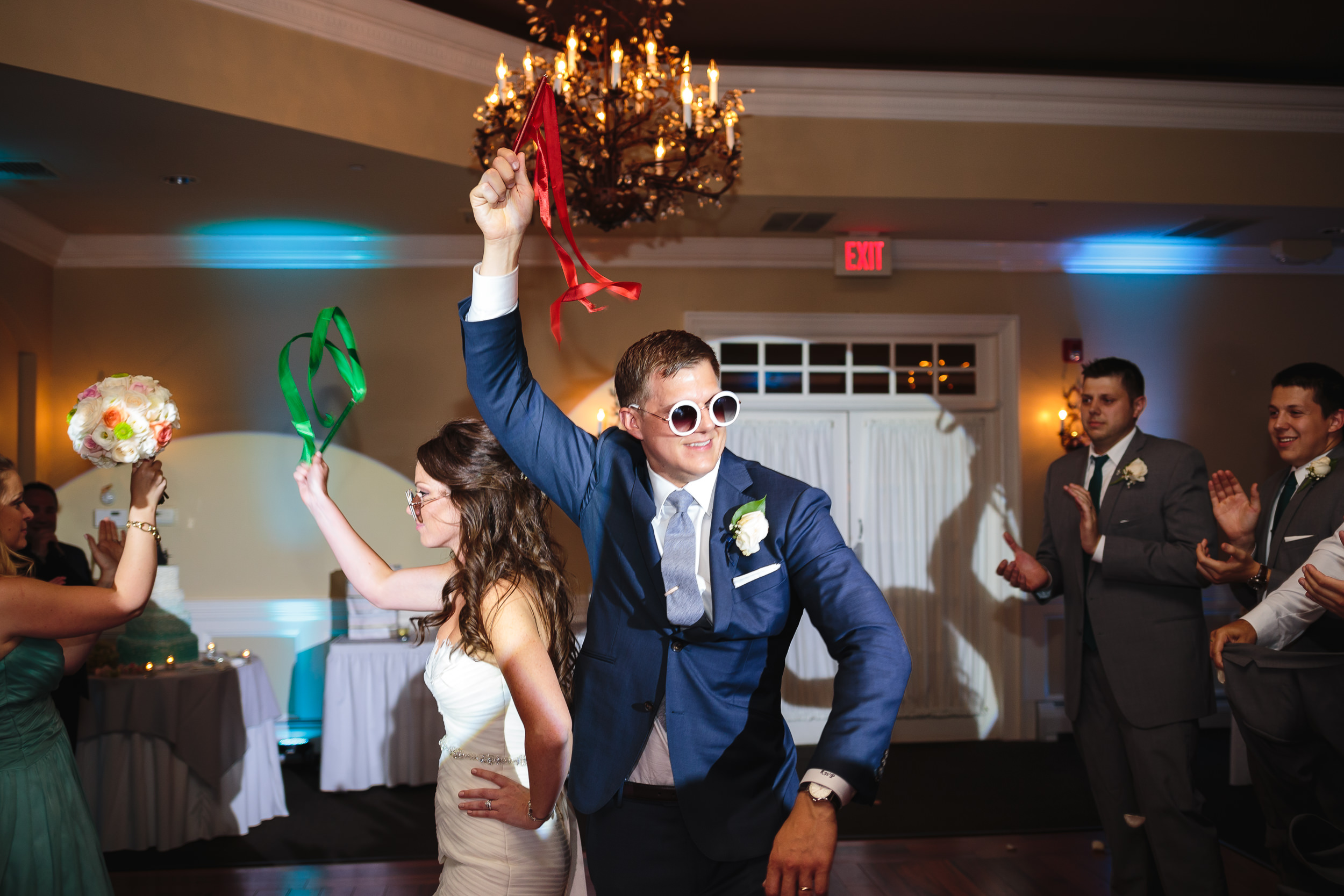 wedding reception bride groom entrance mountain lakes club nj